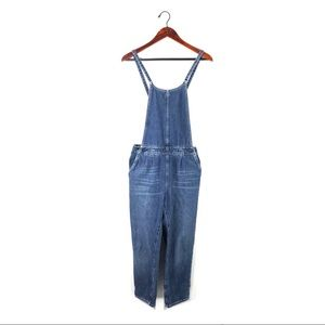 Free people overalls denim bib jeans cross straps